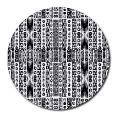 Creative Retro Black And White Abstract Vector Designs By Kiekie Strickland Round Mousepads
