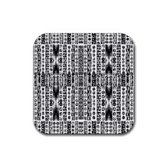 Creative Retro Black And White Abstract Vector Designs By Kiekie Strickland Rubber Coaster (square)