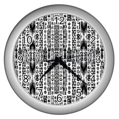Creative Retro Black And White Abstract Vector Designs By Kiekie Strickland Wall Clocks (silver)