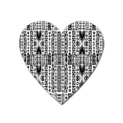 Creative Retro Black And White Abstract Vector Designs By Kiekie Strickland Heart Magnet