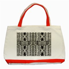 Creative Retro Black And White Abstract Vector Designs By Kiekie Strickland Classic Tote Bag (red)