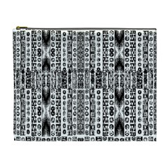 Creative Retro Black And White Abstract Vector Designs By Kiekie Strickland Cosmetic Bag (xl)
