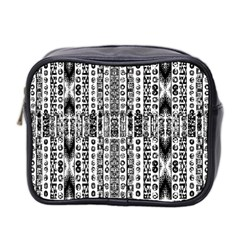 Creative Retro Black And White Abstract Vector Designs By Kiekie Strickland Mini Toiletries Bag 2 Side by flipstylezdes