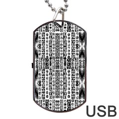 Creative Retro Black And White Abstract Vector Designs By Kiekie Strickland Dog Tag Usb Flash (two Sides) by flipstylezdes