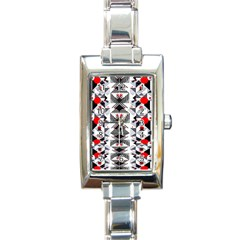 Retro Geometric Red And Black Triangles  Rectangle Italian Charm Watch
