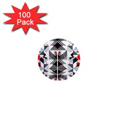 Retro Geometric Red And Black Triangles  1  Mini Magnets (100 Pack)