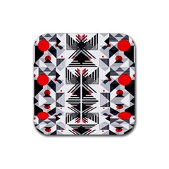 Retro Geometric Red And Black Triangles  Rubber Coaster (square)  by flipstylezdes