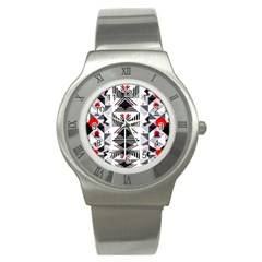Retro Geometric Red And Black Triangles  Stainless Steel Watch