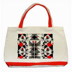 Retro Geometric Red And Black Triangles  Classic Tote Bag (red) by flipstylezdes