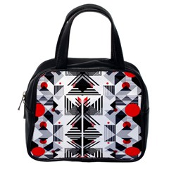 Retro Geometric Red And Black Triangles  Classic Handbags (one Side)