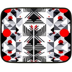Retro Geometric Red And Black Triangles  Double Sided Fleece Blanket (mini)  by flipstylezdes