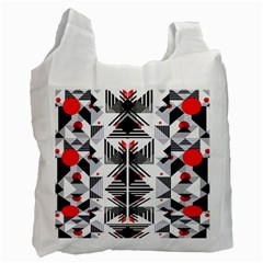 Retro Geometric Red And Black Triangles  Recycle Bag (two Side)