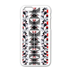 Retro Geometric Red And Black Triangles  Apple Iphone 6/6s White Enamel Case by flipstylezdes