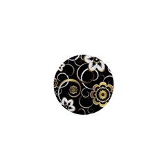 Beautiful Gold And White Flowers On Black 1  Mini Buttons