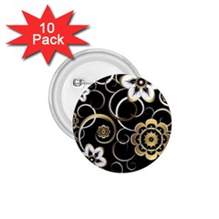 Beautiful Gold And White Flowers On Black 1 75  Buttons (10 Pack)