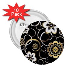 Beautiful Gold And White Flowers On Black 2 25  Buttons (10 Pack)