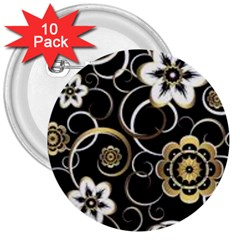 Beautiful Gold And White Flowers On Black 3  Buttons (10 Pack)