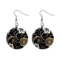 Beautiful Gold And White Flowers On Black Mini Button Earrings