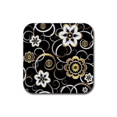 Beautiful Gold And White Flowers On Black Rubber Coaster (square)  by flipstylezdes