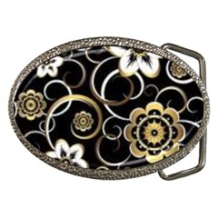 Beautiful Gold And White Flowers On Black Belt Buckles