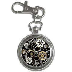 Beautiful Gold And White Flowers On Black Key Chain Watches