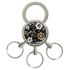 Beautiful Gold And White Flowers On Black 3 Ring Key Chains