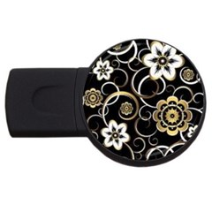 Beautiful Gold And White Flowers On Black Usb Flash Drive Round (2 Gb)
