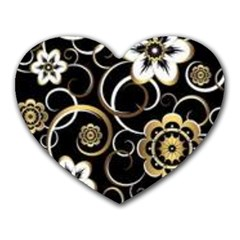 Beautiful Gold And White Flowers On Black Heart Mousepads