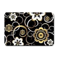 Beautiful Gold And White Flowers On Black Small Doormat