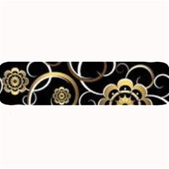 Beautiful Gold And White Flowers On Black Large Bar Mats