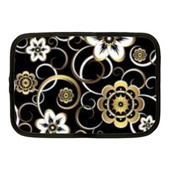 Beautiful Gold And White Flowers On Black Netbook Case (medium)