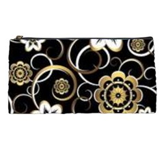 Beautiful Gold And White Flowers On Black Pencil Cases