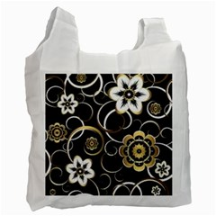 Beautiful Gold And White Flowers On Black Recycle Bag (two Side)