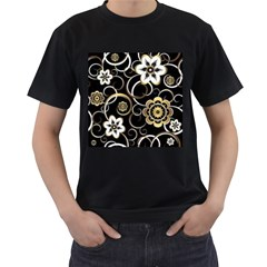 Beautiful Gold And White Flowers On Black Men s T Shirt (black)