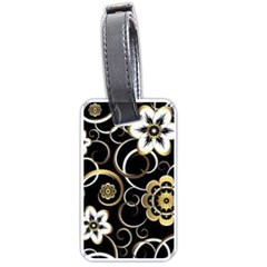 Beautiful Gold And White Flowers On Black Luggage Tags (one Side)