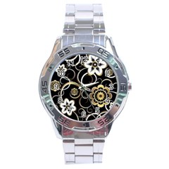 Beautiful Gold And White Flowers On Black Stainless Steel Analogue Watch