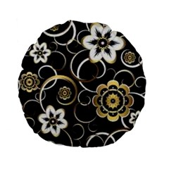 Beautiful Gold And White Flowers On Black Standard 15  Premium Flano Round Cushions