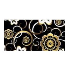 Beautiful Gold And White Flowers On Black Satin Wrap