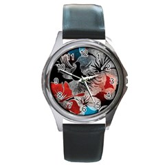 Beautiful Hibiscus Flower Design  Round Metal Watch by flipstylezdes