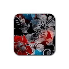 Beautiful Hibiscus Flower Design  Rubber Coaster (square)  by flipstylezdes
