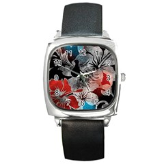 Beautiful Hibiscus Flower Design  Square Metal Watch by flipstylezdes