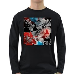 Beautiful Hibiscus Flower Design  Long Sleeve Dark T Shirts