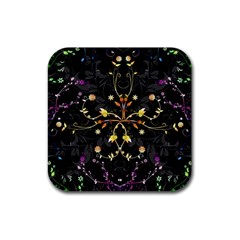 Beautiful Floral Swirl Brushes Vector Design Rubber Coaster (square)  by flipstylezdes