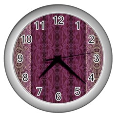 Beautiful Decorative Creative Purple Seamless Design By Kiekie Stricklnd Wall Clocks (silver)