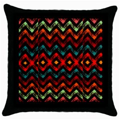 Seamless Native Zigzags By Flipstylez Designs Throw Pillow Case (black)