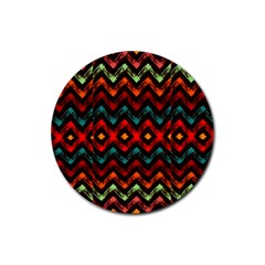Seamless Native Zigzags By Flipstylez Designs Rubber Round Coaster (4 Pack)