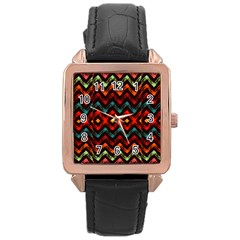 Seamless Native Zigzags By Flipstylez Designs Rose Gold Leather Watch  by flipstylezdes