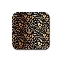 Cluster Of Tiny Gold Hearts Seamless Vector Design By Flipstylez Designs Rubber Coaster (square)