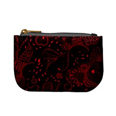 Seamless Dark Burgundy Red Seamless Tiny Florals Mini Coin Purses