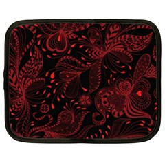 Seamless Dark Burgundy Red Seamless Tiny Florals Netbook Case (xl)